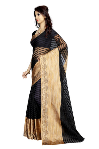 Poly Cotton Sarees Black Color Poly Cotton Printed Saree With Broad Border