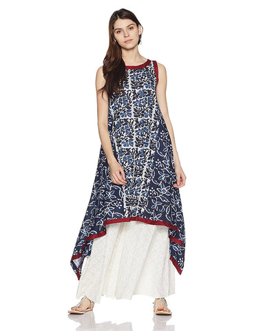 Printed Asymmetrical Hemline Cotton Anarkali Kurta