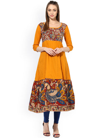 Printed Cotton Anarkali Kurta Mustard Yellow Kalamkari Print Anarkali Kurta Cotton Anarkali Kurtis