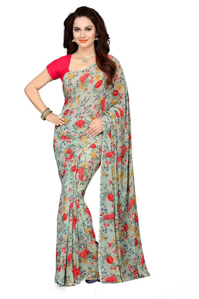 Printed Georgette Sarees Multicolor Rose Print Georgette Sarees With Plain Blouse