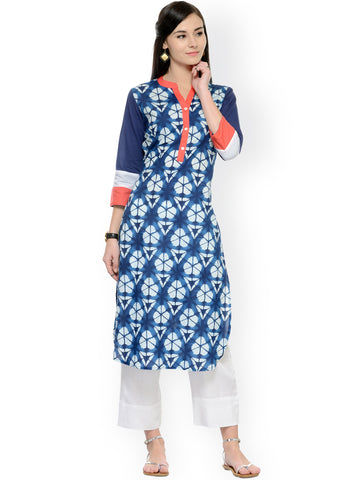 Printed Palazzo Suits Blue Kurta With White Palazzo Salwar Suits Online
