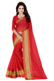 Printed Sarees Red Color Check Print Woven Work Polycotton Saree