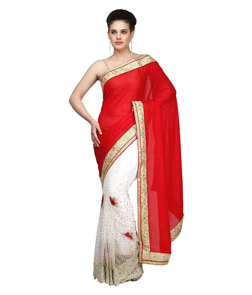 Red & White Color Half & Half Net Saree Designed With Floral Embroidery Stone & Broad Border Work