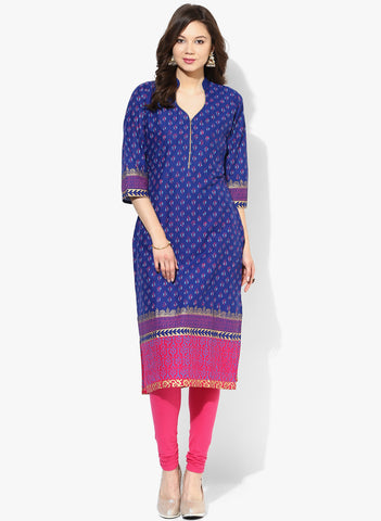 Casual Blue Cotton Straight Long Kurta Long Cotton Kurtis With Ethnic Print