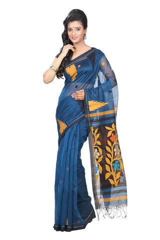 trendy-casual-wear-handloom-sarees-blue-handwoven-sarees-floral-print-work-handwoven-cotton-sarees