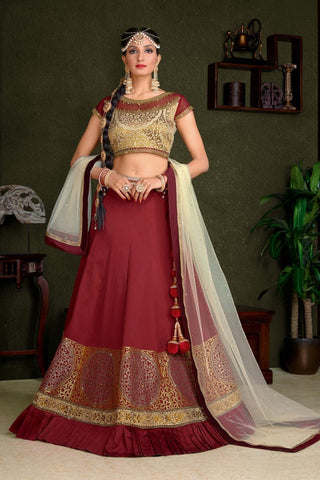 Designer Lehenga Choli Maroon Colored Art Silk Semi-Stitched Lehenga Choli With Embroidery And Frill Work