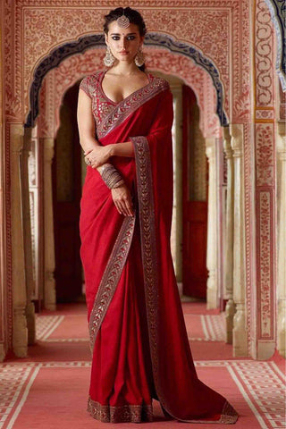 Red Color Georgette Silk Embroidered Saree