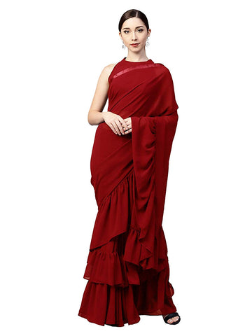 Red Georgette Solid Ruffle Saree