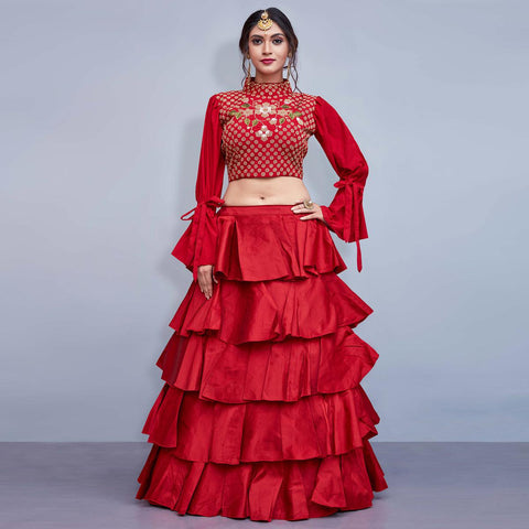 Designer Red Lehenga Party Wear Fancy Art Silk Red Lehenga