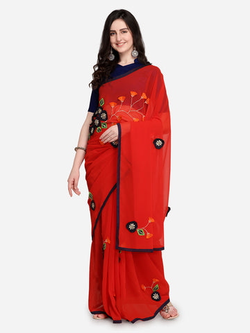 Red Sarees - Red Embroidered Poly Georgette Saree Patch Work Saree