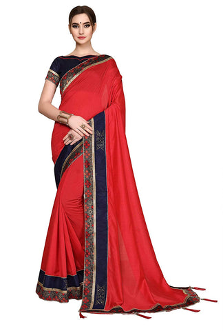 Red Sarees - Women's Cotton Art Silk Designer Red Saree with Blouse Piece