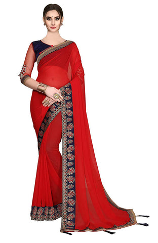 Red Sarees - Women's Georgette Designer Red Saree with Blouse Piece