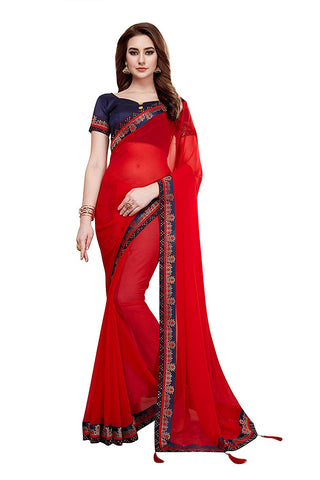 Red Sarees - Women's Plain Solid Georgette Red Saree with Blouse Piece
