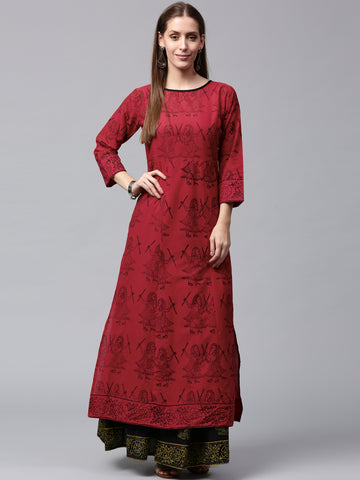 Red & Black Printed Kurta Skirt Set for Women