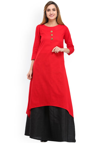 Red & Black Solid Kurta with Skirt
