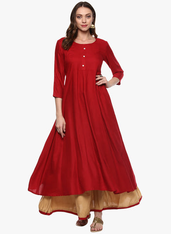 Red Anarkali Kurta With Golden Palazzo Solid Plain Kurta Set Festival Special Collection
