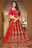 Red Bridal Lehenga Choli Zari & Stone Work Semi Stitched Lehenga Choli