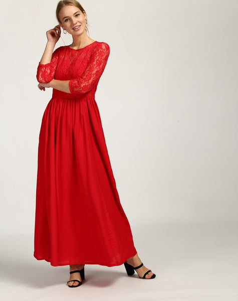 Red Lace Maxi Dress Designer Dress For Valentine's Day Special Clothing