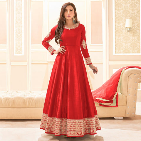 Festival Wear Red Banarasi Silk Floor Length Anarkali Suit