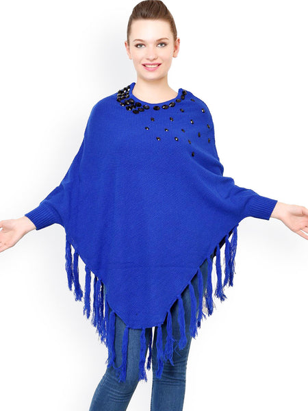 Latest Partywear Royal Blue Acrylic Poncho Shrug Round Neck Full Sleeves Shrug With Embellished And Tassel