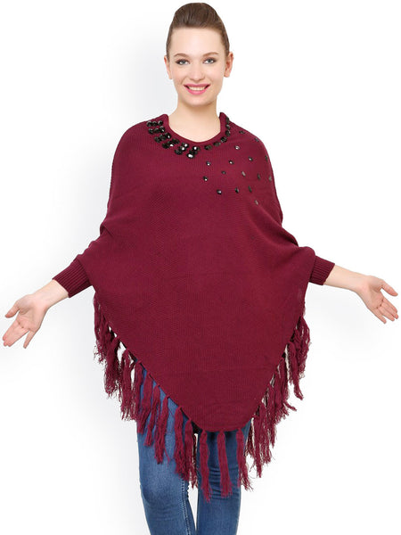 Latest Partywear Maroon Acrylic Poncho Shrug Round Neck Full Sleeves Shrug With Embellished And Tassel