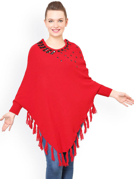 Latest Designer Partywear Red Acrylic Poncho Shrug Round Neck Full Sleeves Shrug With Embellished And Tassel