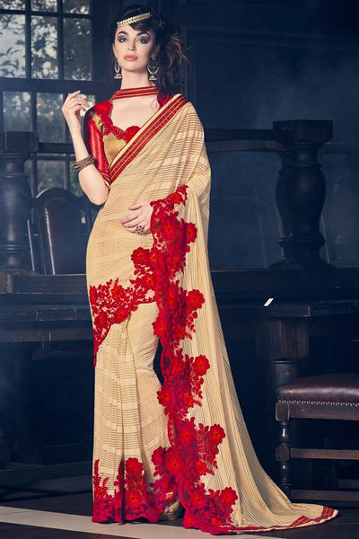Brown & Red Color Georgette And C/N Paper Silk Fancy Floral Border Patch Work Designer Saree