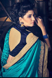 Designer Cyan And Violet Colored Partywear Fancy  Border Design Work Saree