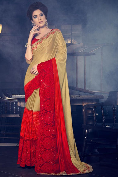Gold And Red Colored Lycra Fancy Fabrics And  Stone, Cut Paste And Fancy Designs Saree