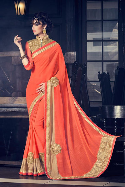 Partywear Orange Colored Marble Lining Patch Work, Fancy Border Work Saree