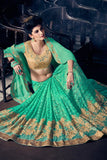 Green Colored Fancy Paper Silk Designer Partywear Border Work Saree