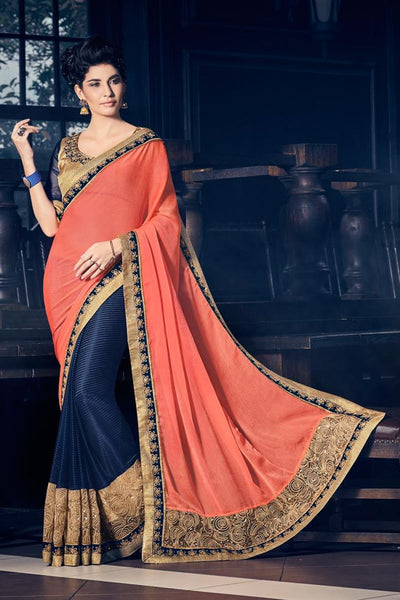 Partywear Designer Orange And Violet Colored Border And Sequence Work Saree