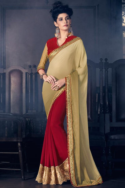 Fancy Beige And Maroon Colored Georgette Fancy Designer Border Work Saree