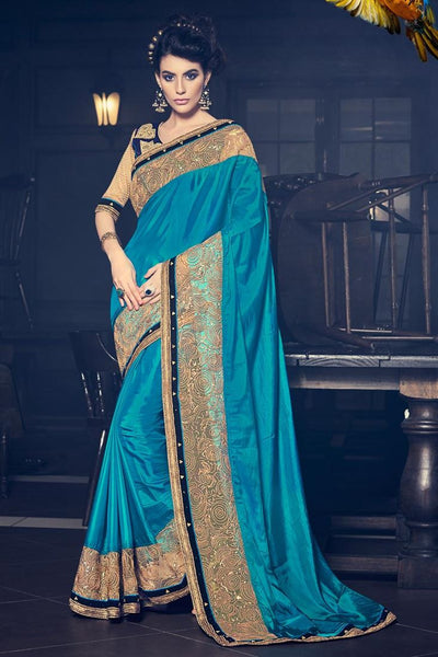 Designer Cyan Paper Silk Fancy Border And Sequence Work Saree