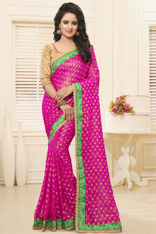 Latest Designer Georgette Sarees Rani Colored Georgette Sarees With Booti & Zari Work