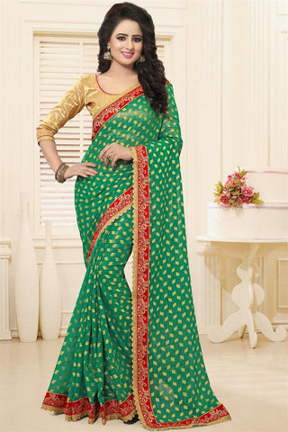 Green Colored Georgette Sarees With Booti, Zari & Border Work Georgette Sarees With Designer Blouse