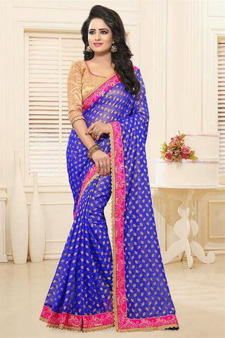 Partywear Blue Color Designer Sarees With Booti, Zari & Border Work Georgette Saree