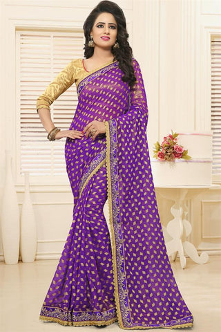 Designer Sarees In Georgette Purple Colored With Booti, Zari & Border Work Saree
