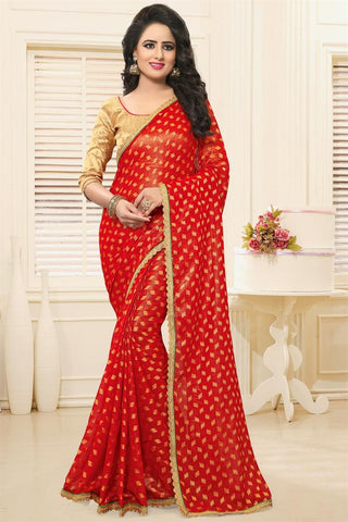 Georgette Designer Sarees With Booti & Border Work Red Colored Partywear Georgette Sarees