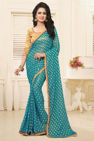 Latest Georgette Designer Sarees With Booti, Zari & Border Work Firogi Color Designer Sarees