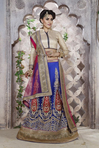 Urban-Naari-Red-Colored-Banglori-silk-Heavy-Embroidered-Semi-Stitched-Lehenga-Choli