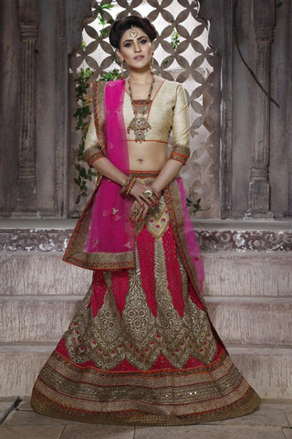 Urban-Naari-Red-Colored-Net-Heavy-Embroidered-Semi-Stitched-Lehenga-Choli