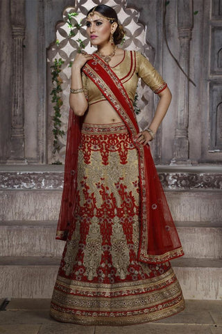 Urban-Naari-Cream-&-Pink-Colored-Net-Heavy-Embroidered-Semi-Stitched-Lehenga-Choli
