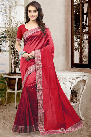 Designer Partywear Red Color Plain Silk Sari With Embroidered Lace Border Saree