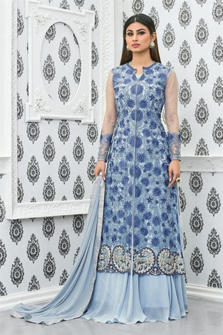 Designer Sky Blue Mouni Roy Heavy Net & Faux Georgette Salwar Suit Embroidery Work Semi Stitched Anarkali Suit
