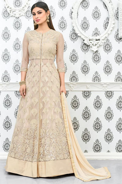 Designer Cream Color Anarkali Suit Heavy Net With Embroidery Semi Stitched Salwar Suit