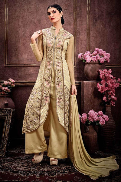 Beige Colored Designer Plazo Suits With Thread Embroidery & Stone Work Faux Georgette Palazzo Suits