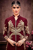 Partywear Maroon Color Faux Georgette Palazzo Suits With Thread Embroidery & Stone Work