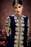 Designer Suits With Plazo Navy Blue Faux Georgette Salwar Suit With Thread Embroidery & Stone Work