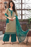Designer Light Khaki Color Dress Material Printed & Thread Embroidery Cotton Designer Suits